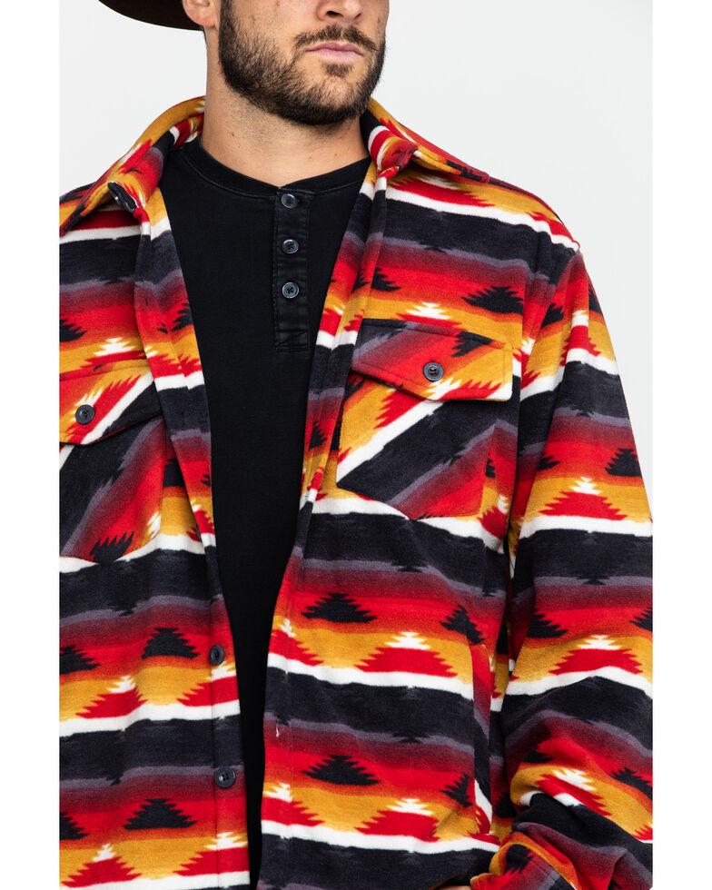 Outback Trading Co. Men's Aztec Fleece Indy Big Shirt Jacket, Red, hi-res
