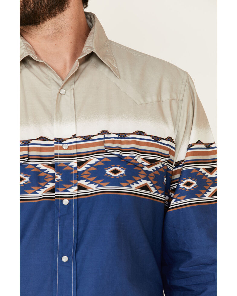 Roper Men's Vintage Arizona Aztec Border Print Long Sleeve Snap Western Shirt , Blue, hi-res
