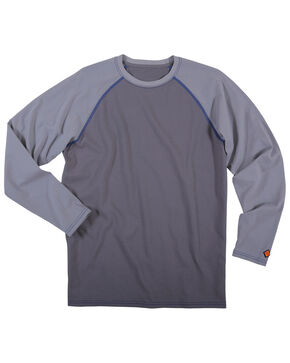 Wrangler Men's Flame Resisting Knit Baseball Tee - Big, Grey, hi-res