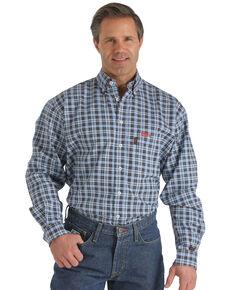 Cinch WRX Men's Flame-Resistant Navy Plaid Long Sleeve Work Shirt , Blue, hi-res