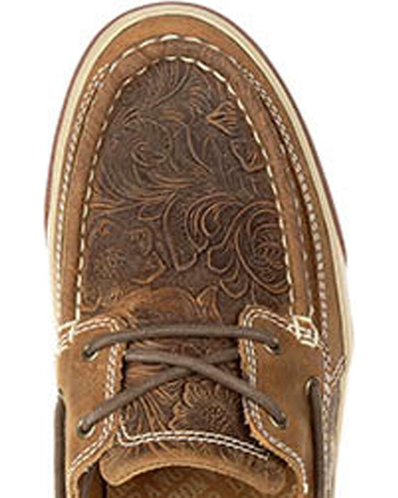 Durango Women's Brown Music City Embossed Boat Shoes , Brown, hi-res