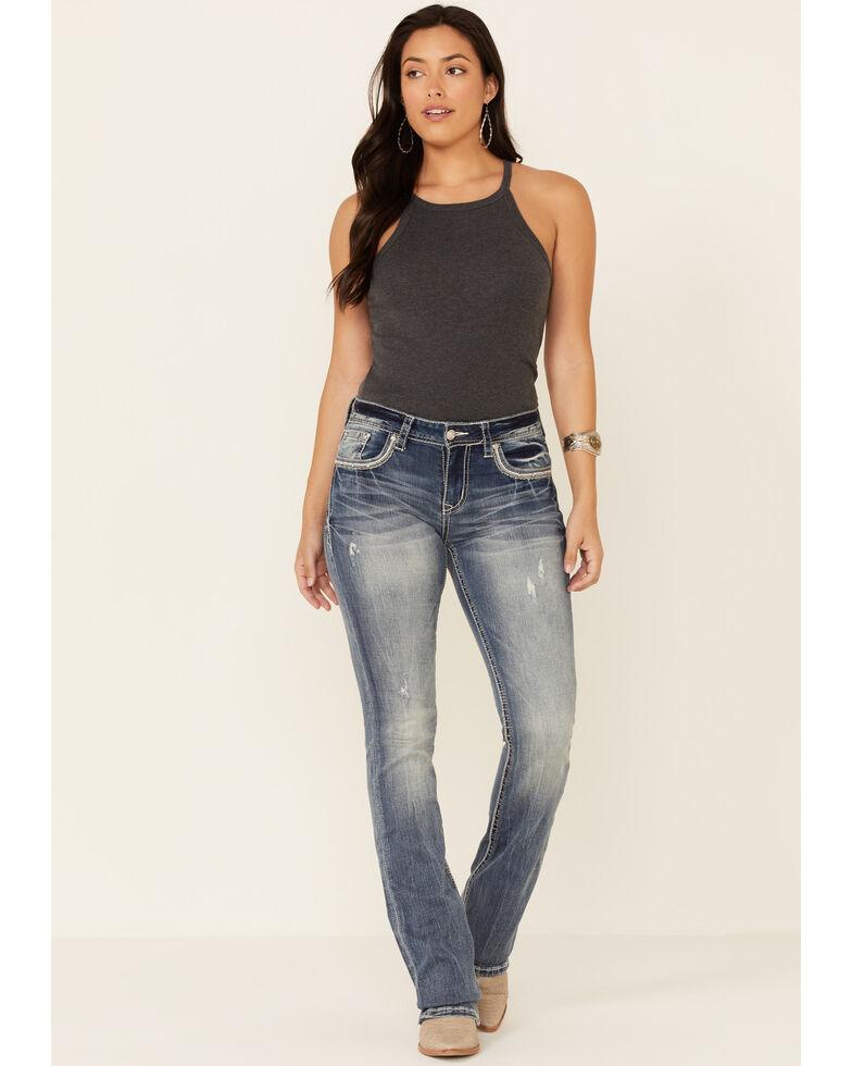Grace in LA Women's Faded Iron Cross Bootcut Jeans, Blue, hi-res