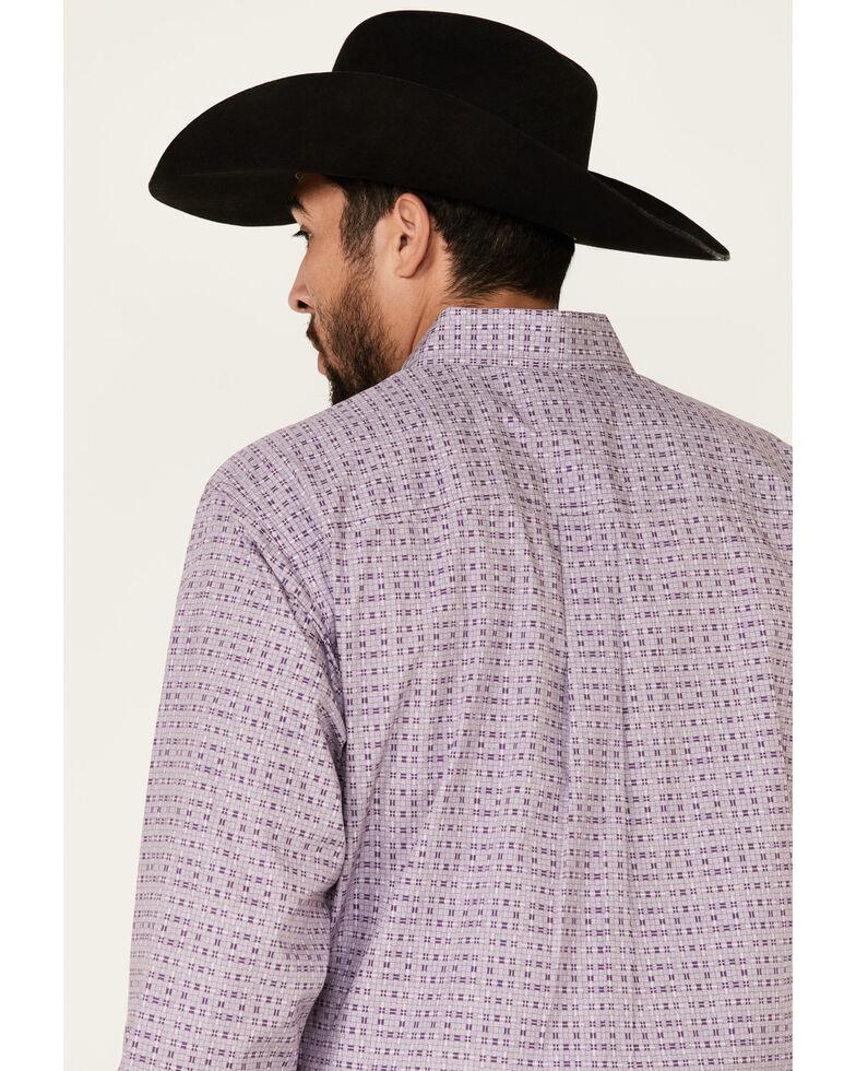 Cinch Men's Basket Weave Geo Print Long Sleeve Western Shirt , Purple, hi-res