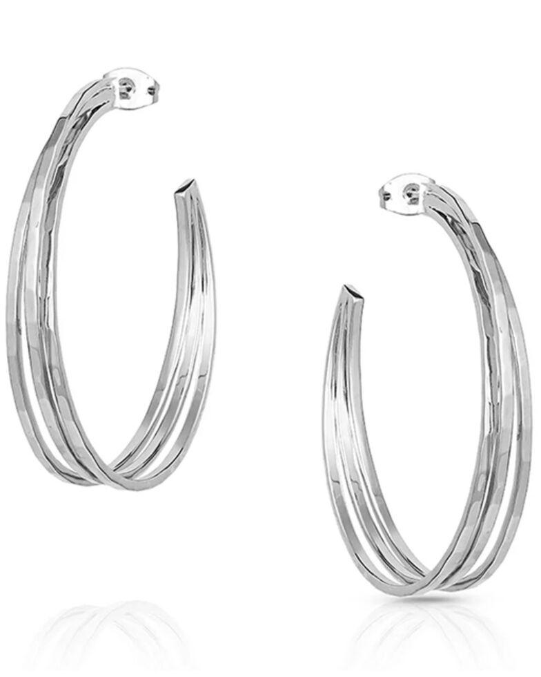 Montana Silversmiths Women's Cut Trio Hoop Earrings, Silver, hi-res