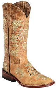 Ferrini Women's Distressed Floral & Cross Embroidered Cowgirl Boots - Wide Square Toe, Antique Saddle, hi-res