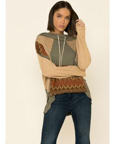 POL Women's Aztec Spiritual Boho Knit Hooded Sweatshirt , Sage, hi-res