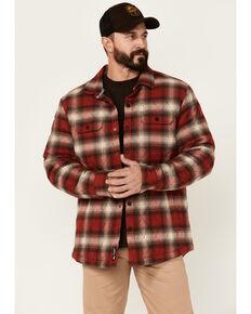 Flag & Anthem Men's Rust & Black Morrison Plaid Quilted Button-Down Western Shirt Jacket , Rust Copper, hi-res