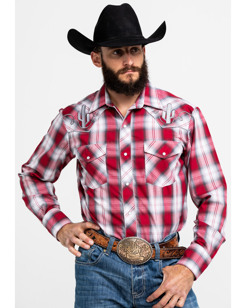 Roper Men's Plaid Cactus Embroidered Long Sleeve Western Shirt , Red, hi-res