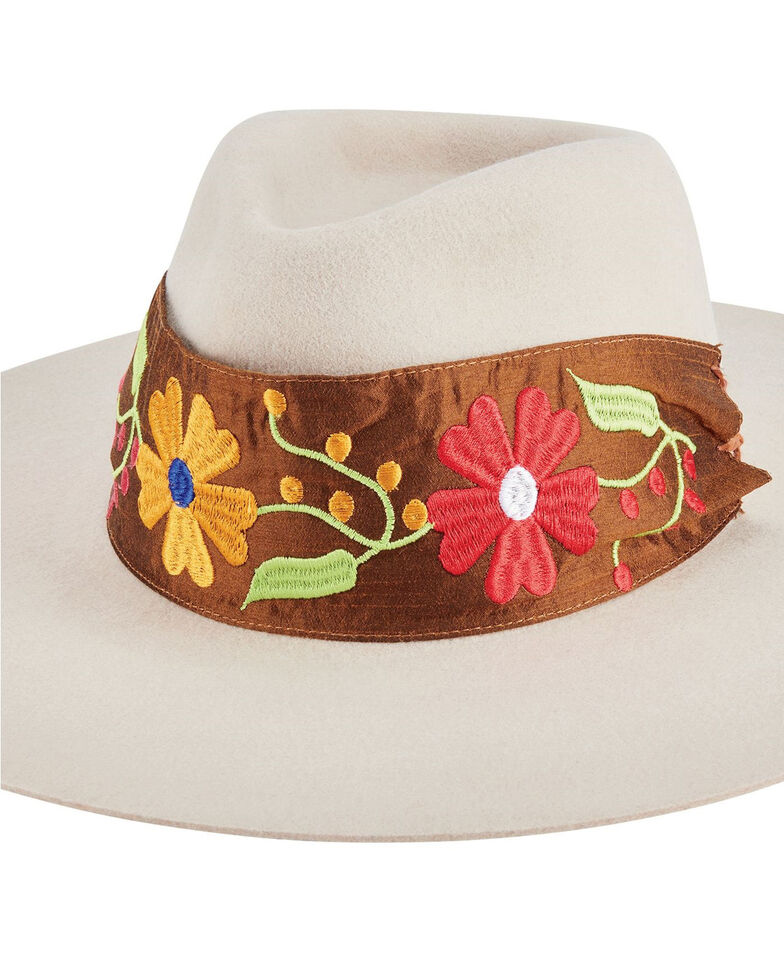 San Diego Hat Company Women's Ivory Pinch Embroidered Felt Fedora Hat, Ivory, hi-res