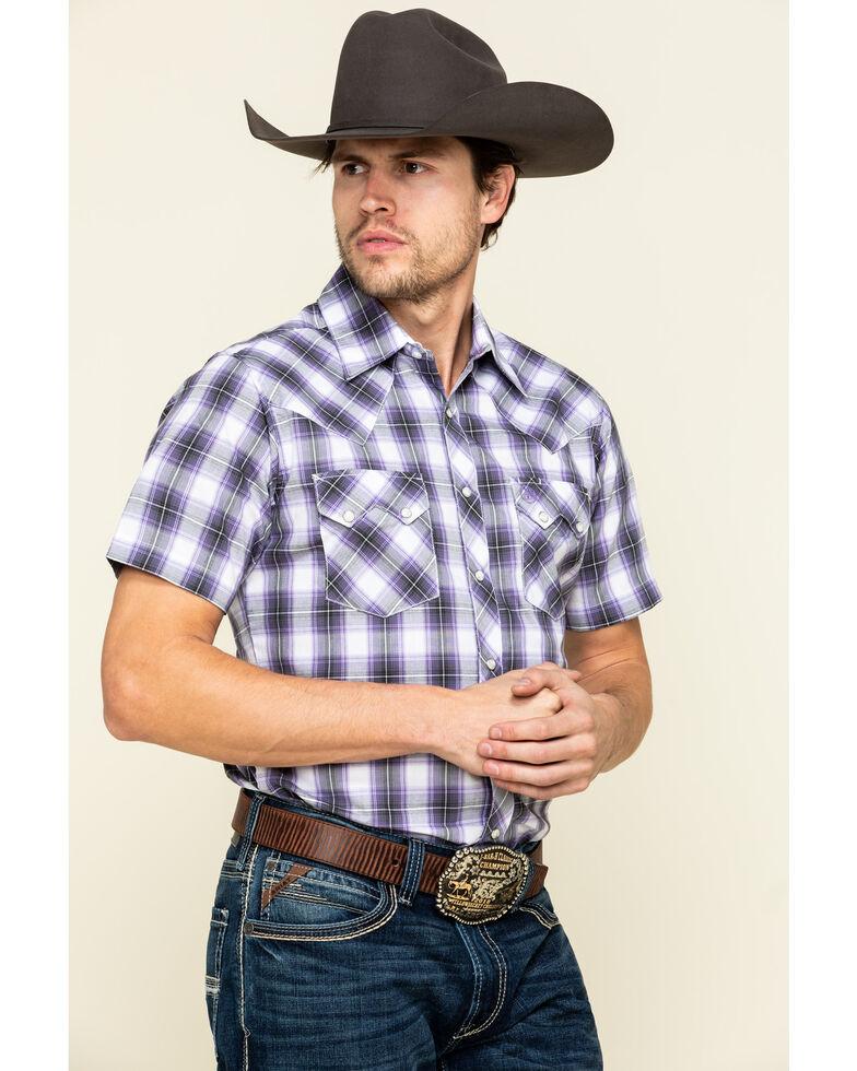 Wrangler Retro Men's Purple Small Plaid Short Sleeve Western Shirt , Purple, hi-res