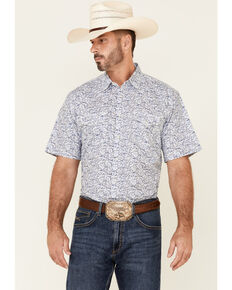 Wrangler 20X Men's AC White Floral Print Short Sleeve Snap Western Shirt , White, hi-res