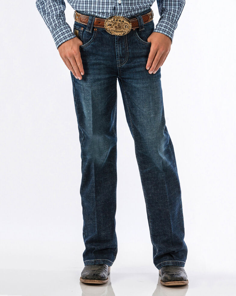 Cinch Boys' Carter Dark Wash Slim Boot Jeans , Blue, hi-res