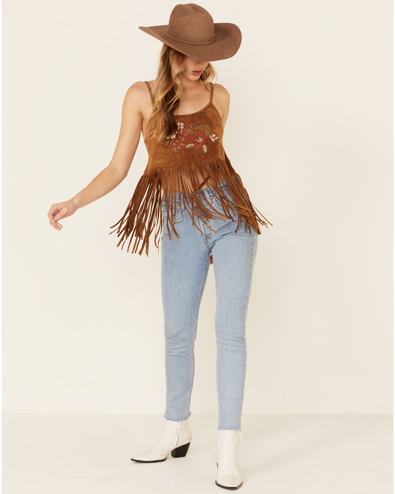 Shyanne Women's Floral Embroidered Faux Suede Cropped Fringe Tank, Brown, hi-res
