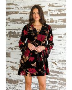 Mystree Women's Floral Velvet Lace Up Dress, Black, hi-res