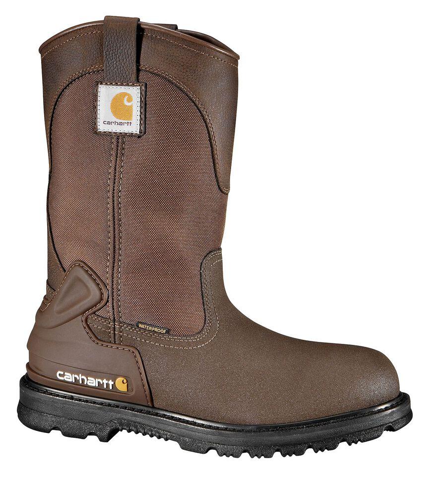 "Carhartt 11"" Bison Waterproof Mud Wellington Work Boots - Steel Toe, Brown, hi-res"