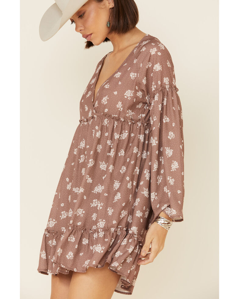 Peach Love Women's Mocha Floral Bell Sleeve Dress, Brown, hi-res