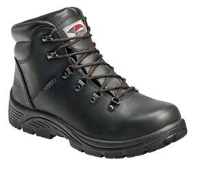 Avenger Men's Black Waterproof Lace-Up Work Boots - Steel Toe, Black, hi-res