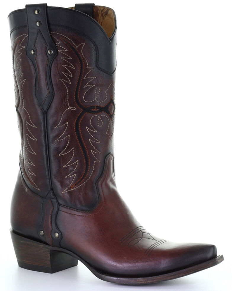 Corral Men's Black Embroidered Studded Leather Western Boots - Snip Toe , Black, hi-res