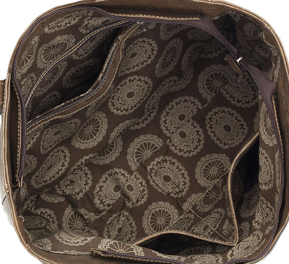 American West Tan Groovy Soul Large Zip Top Tote Bag , Tan, hi-res