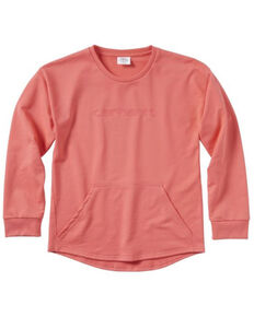 Carhartt Girls' Coral French Terry Sweatshirt, Coral, hi-res