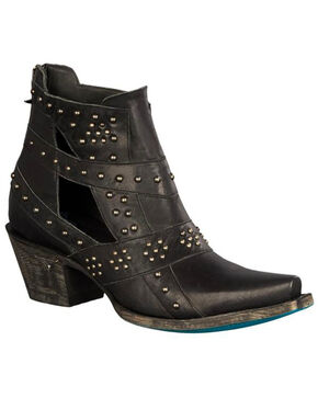 Lane Women's Black Studs & Straps Fashion Booties - Snip Toe , Black, hi-res
