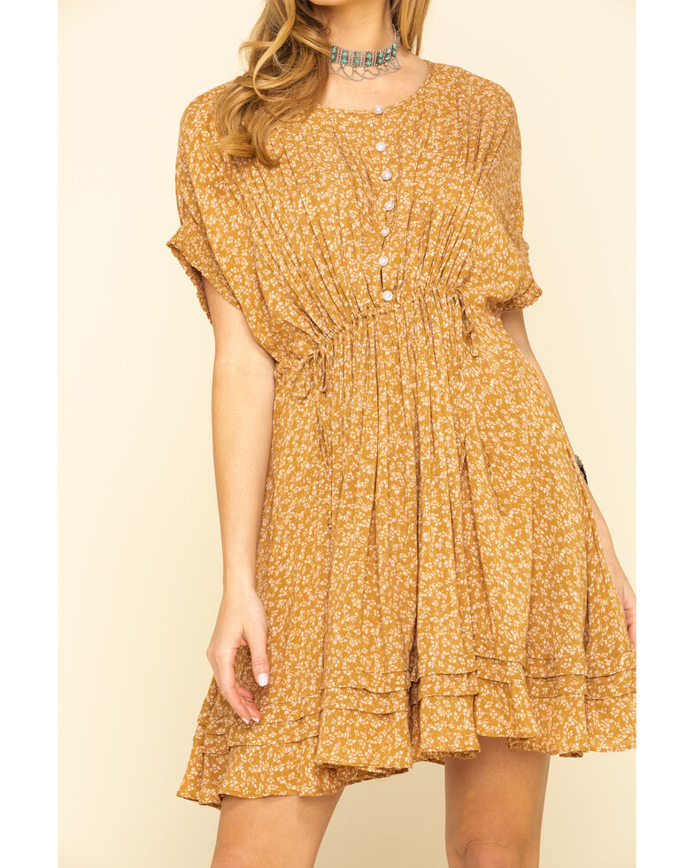 Free People Women's One Fine Day Mini Dress , Brown, hi-res