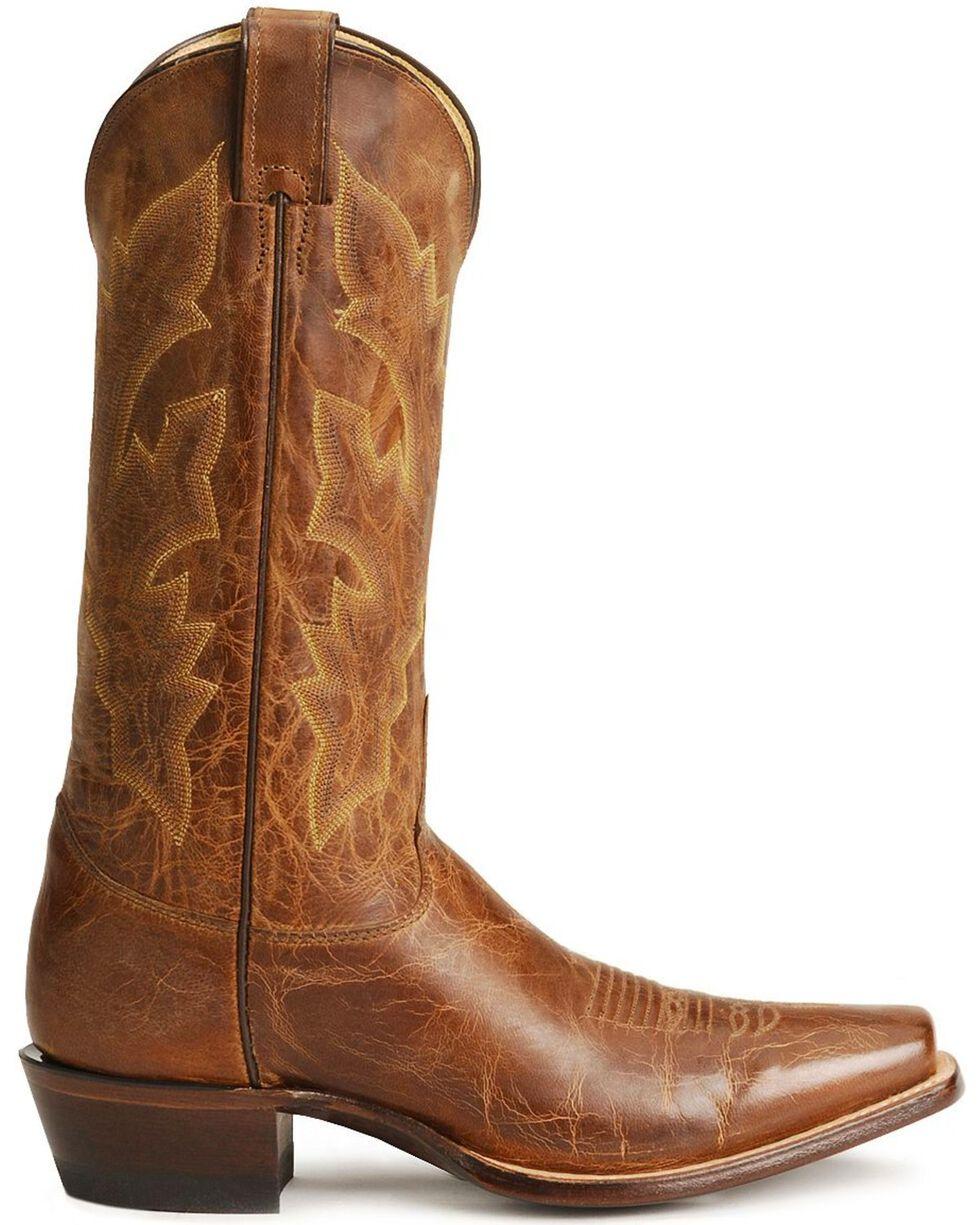 Justin Distressed Cowboy Boots - Square Toe, Tan, hi-res