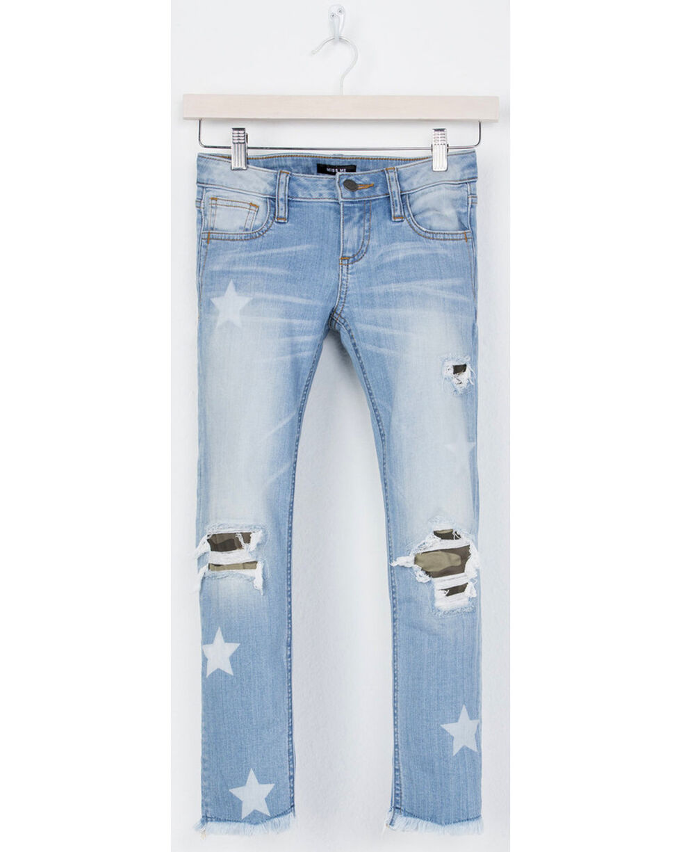 Miss Me Girls' At Attention Ankle Skinny Jeans, Blue, hi-res