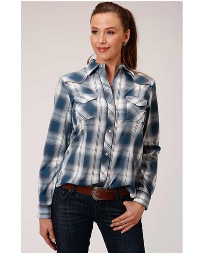 Karman Women's Blue Plaid Embroidered Long Sleeve Western Shirt, Blue, hi-res