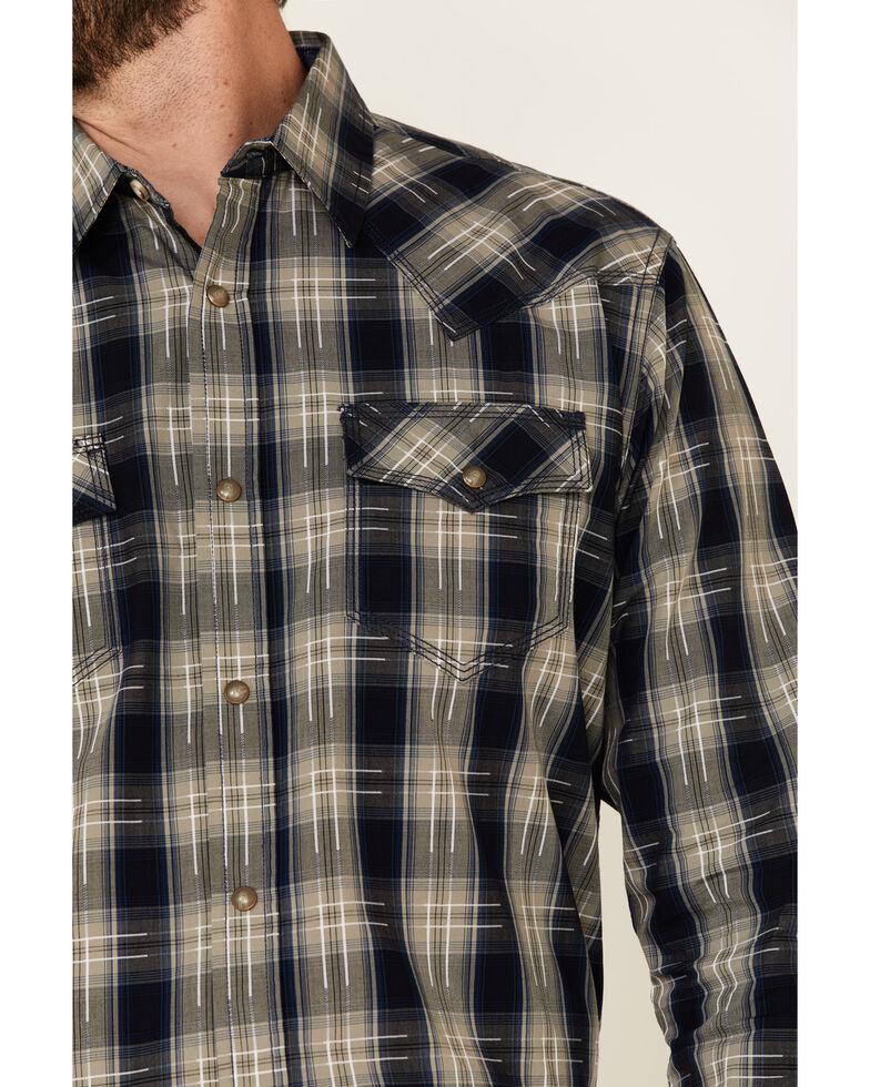 Moonshine Spirit Men's Cat Scratch Fever Large Plaid Long Sleeve Snap Western Shirt , Navy, hi-res