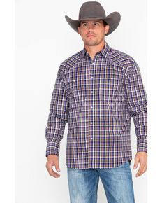 Roper Men's Purple Small Plaid Long Sleeve Western Shirt , Purple, hi-res