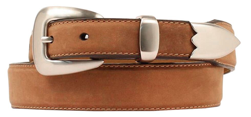 Double Barrel Three Piece Buckle Set Basic Leather Belt, Med Brown, hi-res