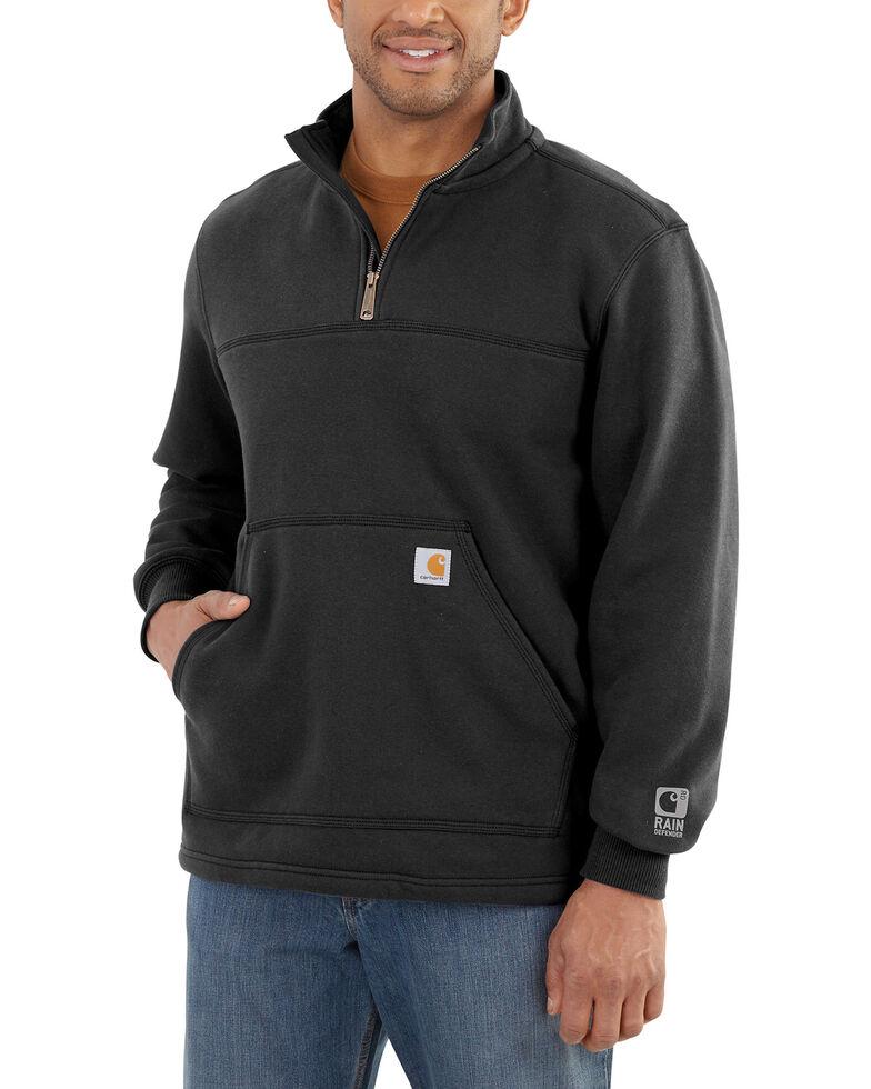 Carhartt Men's Rain Defender Paxton Quarter Zip Pullover, Black, hi-res