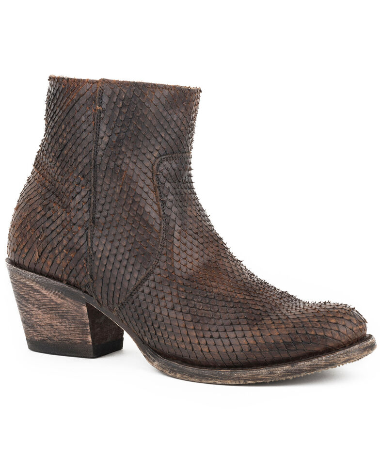 Stetson Women's Brown Dani Scaly Booties - Round Toe , Brown, hi-res