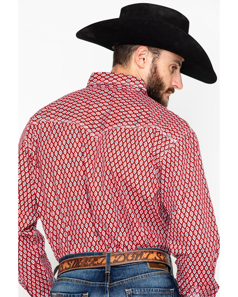 Wrangler 20X Men's Red Competition Advanced Long Sleeve Western Shirt, Black/red, hi-res