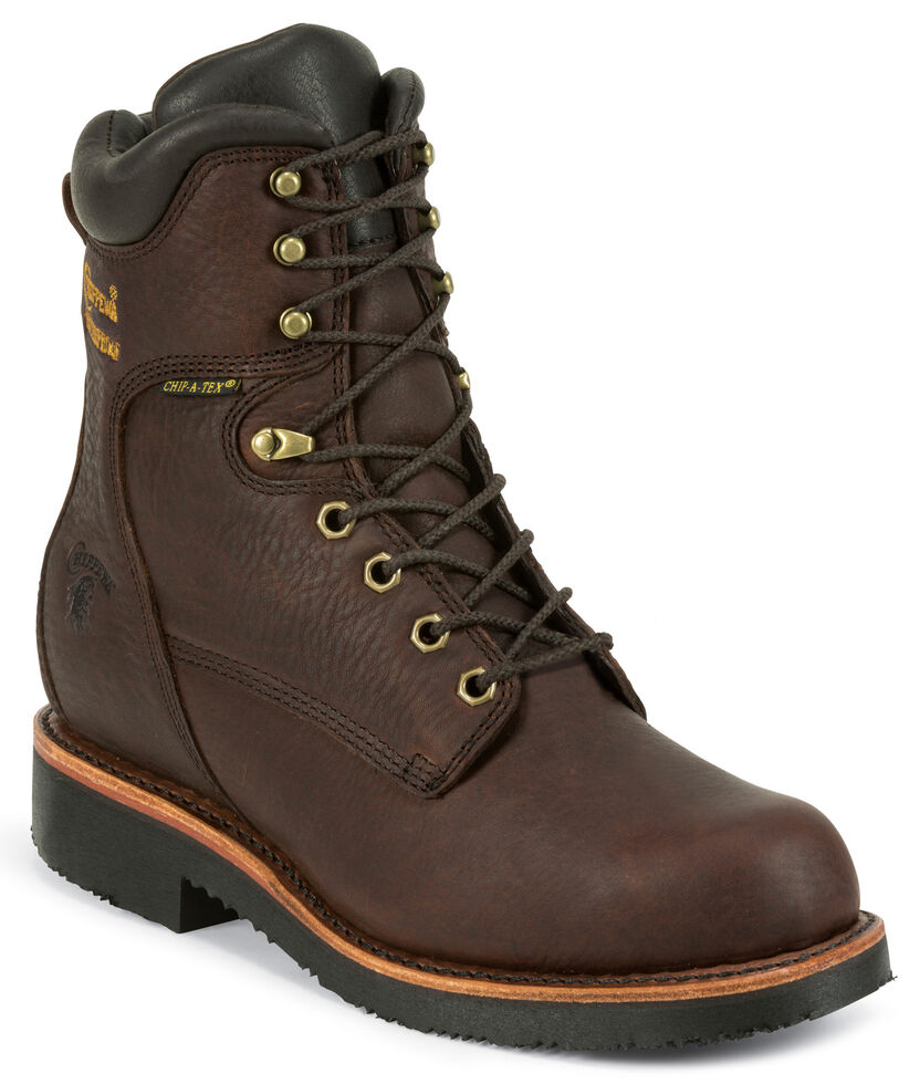 "Chippewa Men's Oiled Walnut 8"" Lace-Up Waterproof Insulated Work Boots - Round Toe, Walnut, hi-res"