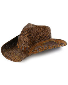 Shyanne Women's Embellished Brim Straw Hat, Brown, hi-res