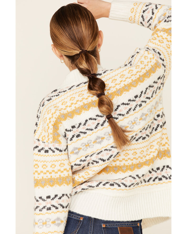 Hem & Thread Women's Ivy Aztec Jacquard Button Front Sweater , Ivory, hi-res