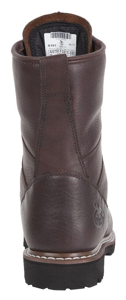 Georgia Low Heel Waterproof Logger Work Boots - Steel Toe, Chocolate, hi-res