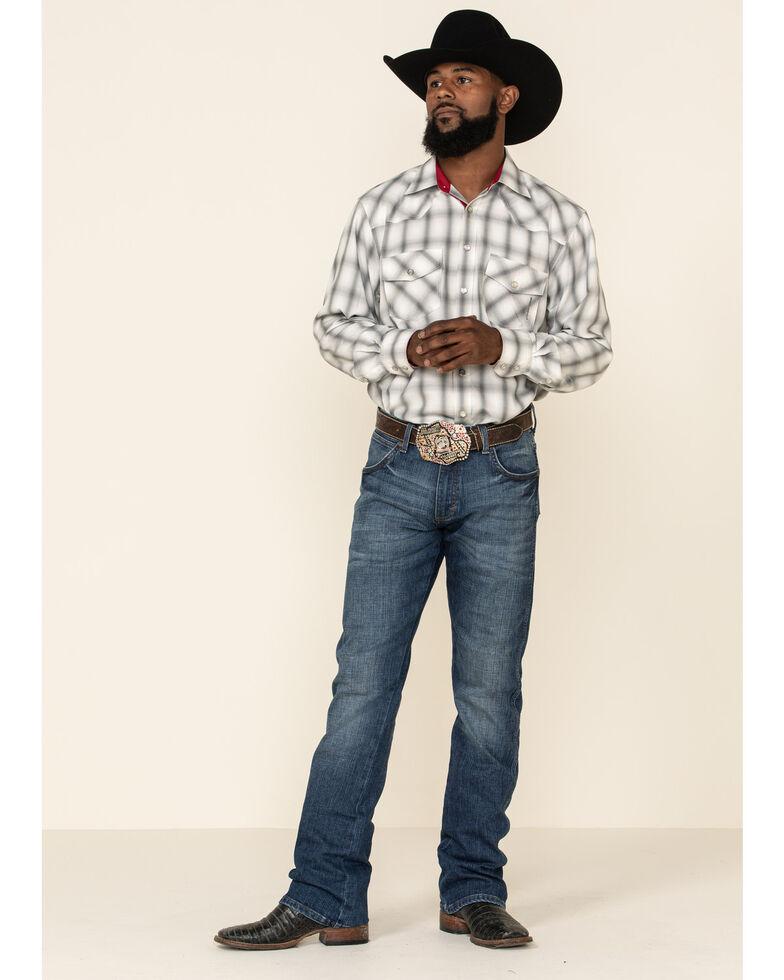 Resistol Men's White North Plaid Long Sleeve Western Shirt , White, hi-res