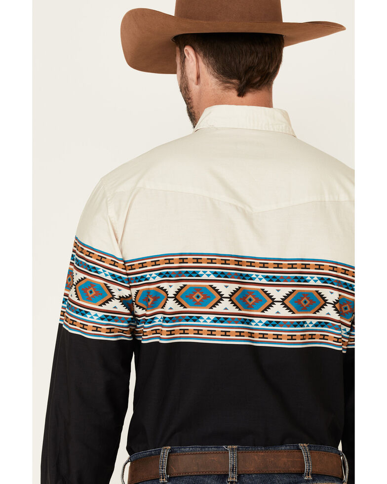Roper Men's Vintage Navy Aztec Border Print Long Sleeve Snap Western Shirt , Navy, hi-res
