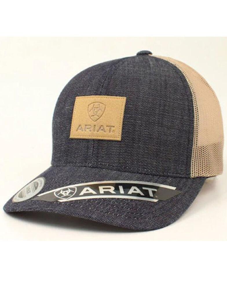 Ariat Men's Denim Logo Leather Patch Mesh Ball Cap , Blue, hi-res