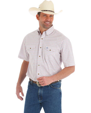 George Strait by Wrangler Men's Red Check Short Sleeve Western Shirt, Red, hi-res