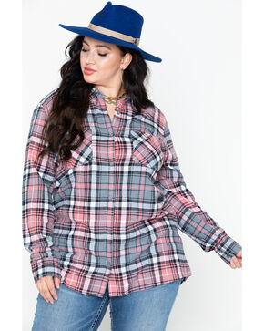 Derek Heart Women's Cotton Flannel Plaid Tab Sleeve Shirt - Plus, , hi-res