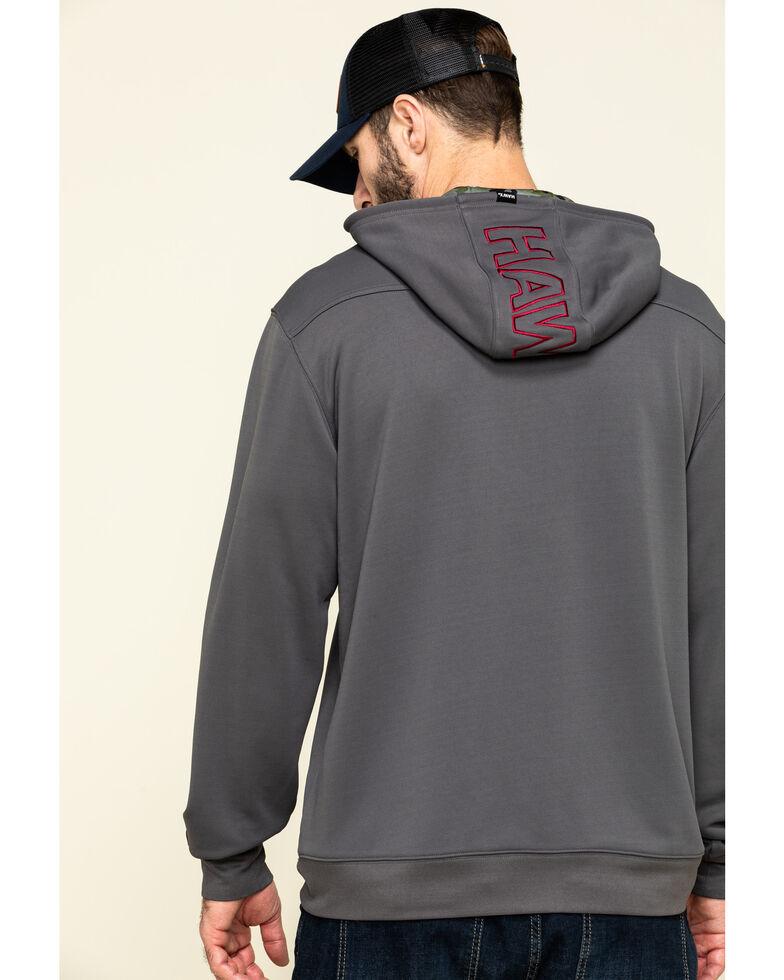 Hawx Men's Grey Tech Logo Hooded Work Sweatshirt , Dark Grey, hi-res