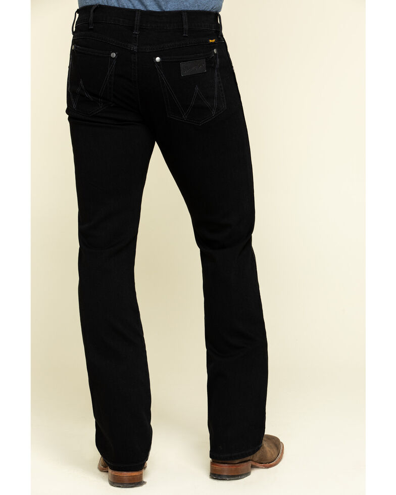 Wrangler Retro Premium Men's Black Stretch Slim Bootcut Jeans , Black, hi-res