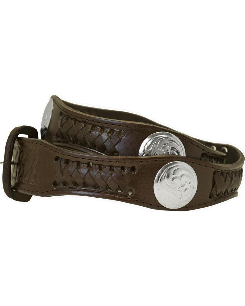 Western Express Men's Silver Concho Belt , Brown, hi-res