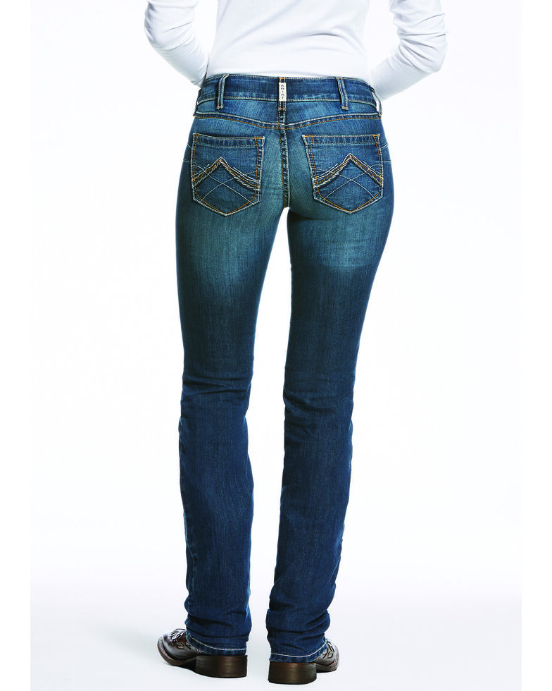 Ariat Women's REAL Low Rise Dark Straight Jeans , Blue, hi-res