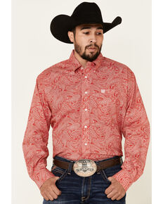 Cinch Men's Red Paisley Print Long Sleeve Western Shirt , Red, hi-res