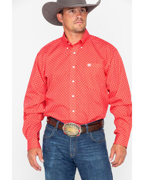 Cinch Men's Red Diamond Long Sleeve Button Down Shirt, Red, hi-res